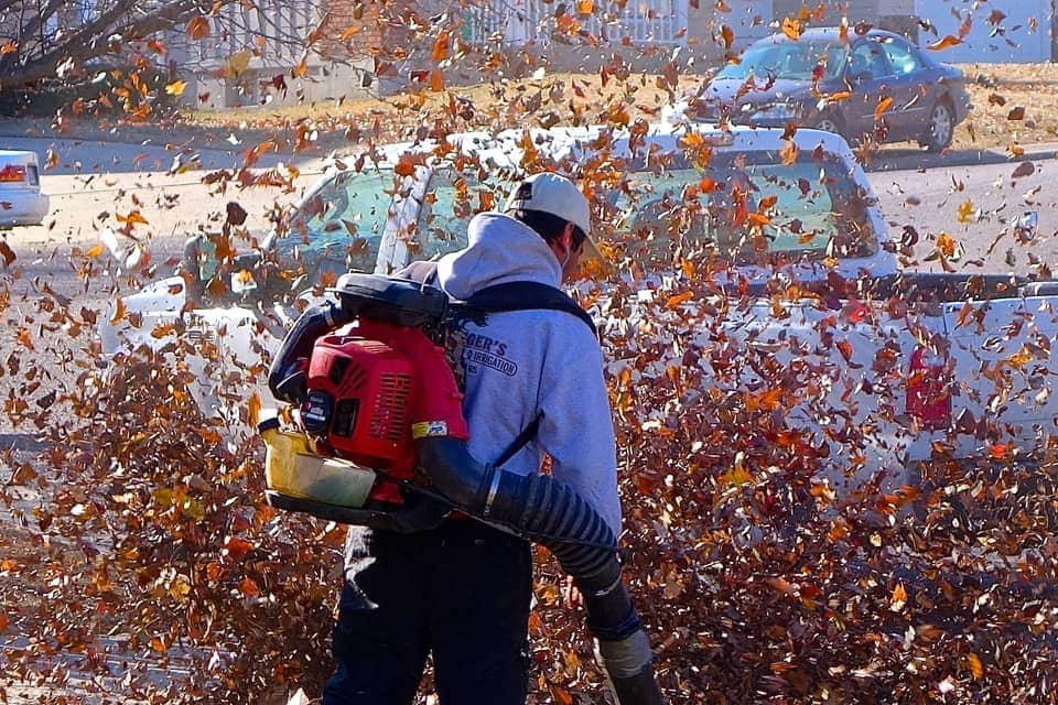 Man with backpack leaf blower
